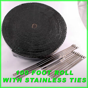 Black Thick Exhaust Wrap Header Pipe Tape Kit 1 8 X 2 X 100 Ft