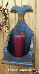 Primitive Whale Tail Candle Sconce Box Blue