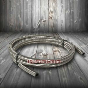 Stainless Steel Braided 6an An 6 15k Psi Oil Fuel Hose Line Id 3 8 Per Foot Ft