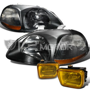 For 96 98 Honda Civic 2 3 4dr Black Headlights W Yellow Fog Lamp Switch Kit