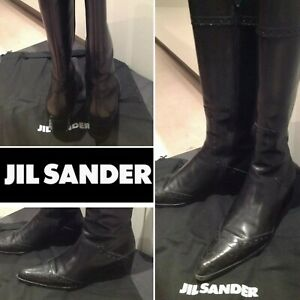 JIL SANDER Were$1500 Black Leather Stitch detail Knee High Boots EU37.5 Italy