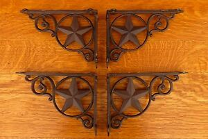 4 Brown Antique Style 9 Star Shelf Brackets Cast Iron Rustic Western Country