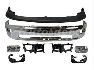 For 2009 2012 Dodge Ram 1500 Front Chr Bumper Cap Fog Light Bracket Kit 7pcs
