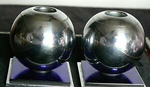 Chase Chrome Cobalt Blue Mirrored Candle Sticks