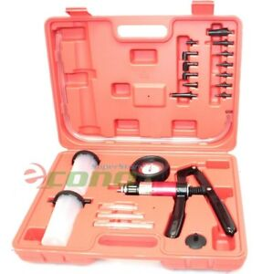 21pc Hand Held Vacuum Pressure Pump Tester Kit Brake Fluid Bleeder Bleeding Kit