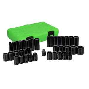 38pc Grip 3 8 1 2 Sae Metric 6pt Impact Sockets Set Shallow Deep Inch Mm 73600