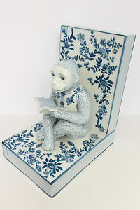 Unique Beautiful Blue And White Porcelain Monkey Bookend Figurine 10