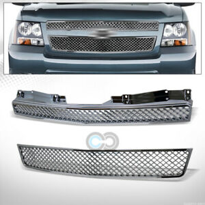 Fit 07 14 Chevy Tahoe Suburban Avalanche Chrome Mesh Front Bumper Grille Abs 2pc