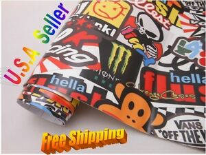 60 x60 Hellaflush Sticker Bomb Vinyl Film For Car Wrapping With Air Bubble Free