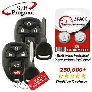 2 New Replacement Keyless Entry Remote Car Fob For 15913415 W 2 Chip Plus Keys
