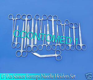 17 Pc O r Grade Surgical Veterinary Scissors Forceps Hemostats Needle Holder