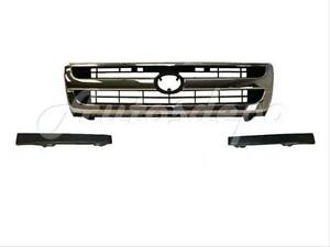 For 1997 1998 Tacoma 2wd Grille Chrome Frame W blk Inserts Bumper grille Blk 3p