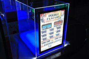Acrylic Pull Tab Display Case With Led Backlit Display And Colored Base