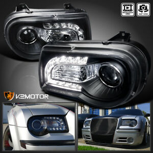 2005 2010 Chrysler 300c Black Led Strip Projector Headlights Left Right