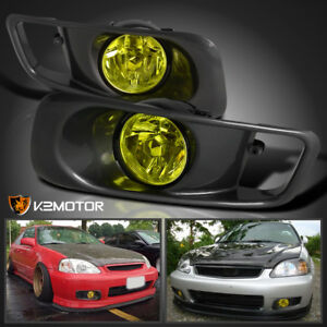 For 1999 2000 Honda Civic Si Jdm Yellow Bumper Fog Lights Kit Switch
