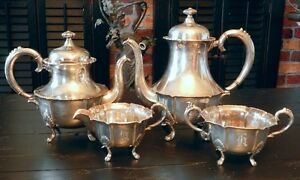 Br Drene Lohne Norway Sterling Silver Coffee Tea Pots Sugar Bowl Creamer Set