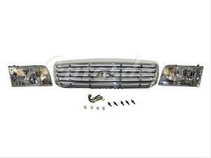 For 1998 2011 Crown Victoria Grille Chrome Bar Type Headlight W bulb 3pcs