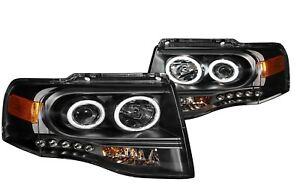 Anzo 111113 Black Ccfl Halo Projector Headlights Led For 07 13 Ford Expedition