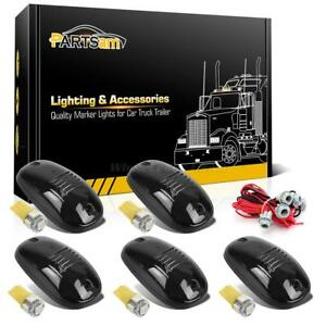 5xsmoke Top Roof Cab 264146bk Lights 5050 Amber T10 Led Bulbs wire For Dodge Ram