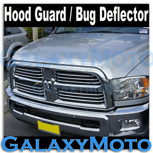 Chrome Hood Shield Guard Bug Air Deflector For 10 18 Dodge Ram 2500 3500 hd