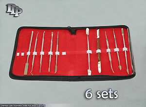 6 Sets Dental Lab Stainless Steel Kit Wax Carving Tool Set Surgical Instruments
