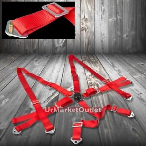 6 point 2 Red Harness Universal Camlock Buckle Strap Racing Safety Seat Belt