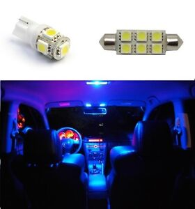 8x Blue Led Lights Bulb Map 168 Dome 578 License Plate Interior Package 6411 W5w