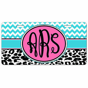 Chevron Leopard Cheetah Monogrammed Personalized License Plate Vanity Tag Car
