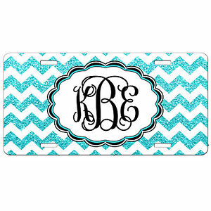 Personalized License Plate Turquoise Glitter Chevron Monogrammed Car Tag