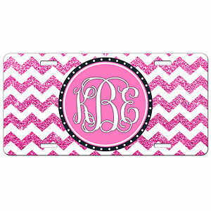 Personalized License Plate Hot Pink Glitter Chevron Monogrammed Car Tag