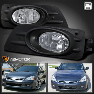 For 2006 2007 Honda Accord 4dr Sedan Clear Bumper Fog Lights Lamps W Switch