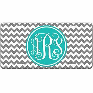 Grey Chevron Personalized Monogrammed License Plate Car Tag Initials Custom New