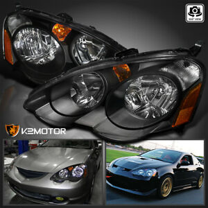 For 2002 2004 Acura Rsx Dc5 Replacement Black Headlights Head Lamps Left Right