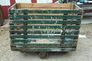 Antique Factory Industrial Cart Bin Cast Iron Wheels Slatted Drop Side