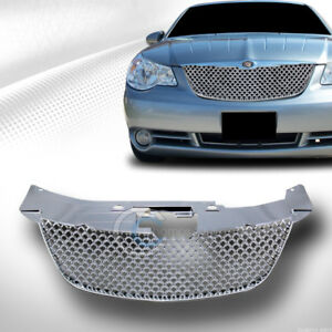 Fits 07 10 Chrysler Sebring Chrome Mesh Front Bumper Grill Grille Guard Abs