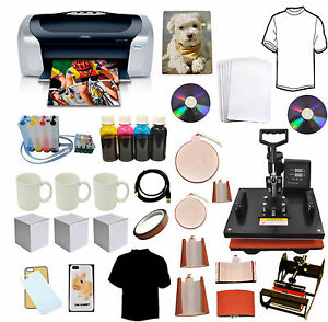 8in1 Combo Heat Transfer Press epson Printer C88 ciss Ink t shirts mug plate Kit