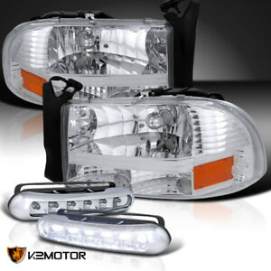 97 04 Dodge Dakota Durango Chrome Headlights led Daytime Running Fog Lamps Pair