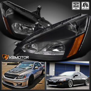 For 2003 2007 Honda Accord 2 4dr Black Replacement Headlights Lamps Left right