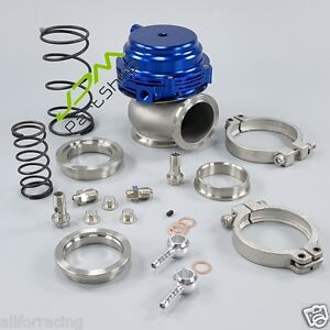 New Blue 44mm V band External V44 Turbo Wastegate Performance 14psi Mvr44