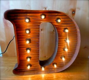 Lg Brown Vintage Style Light Up Marquee Letter D 24 Tall Novelty Rustic Sign