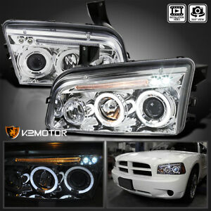 For 2006 2010 Dodge Charger Led Dual Halo Clear Projector Headlights Lamps L R