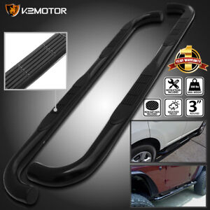 For 2006 2010 Hummer H3 Stainless 3 Running Boards Side Step Nerf Bars Black