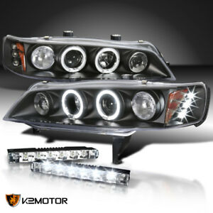 For 1994 1997 Honda Accord Led Halo Projector Head Lights Black 6 Led Bumper Drl