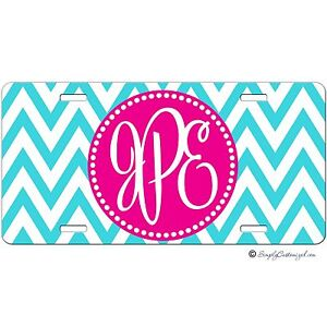 Personalized Monogrammed Car Tag License Plate Turquoise Chevron Pink Monogram