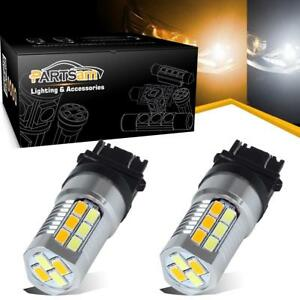 2pcs Switchback 3157 Amber White Dual Color 22 5730 Led Front Turn Signal Lights
