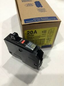 Square D Qo120 New Plug in Circuit Breaker 20a 1 Pole 120 Vac 3 4 box Of 10