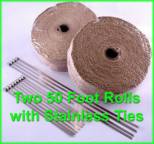 Tan Exhaust Pipe Heat Header Wrap Tape Stainless Ties 1 16 x2 x 50 Ft 2 Rolls