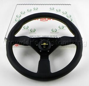 Personal Steering Wheel Grinta 350 Mm Black Leather Yellow Stitching