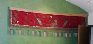 Chinese Temple Red Silk Tapestry Asian Textiles W Dragons Peacocks