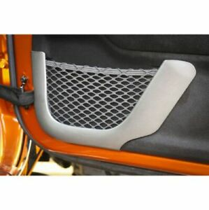 Rugged Ridge 11152 21 Brushed Silver Front Door Net Trim For Jeep Wrangler